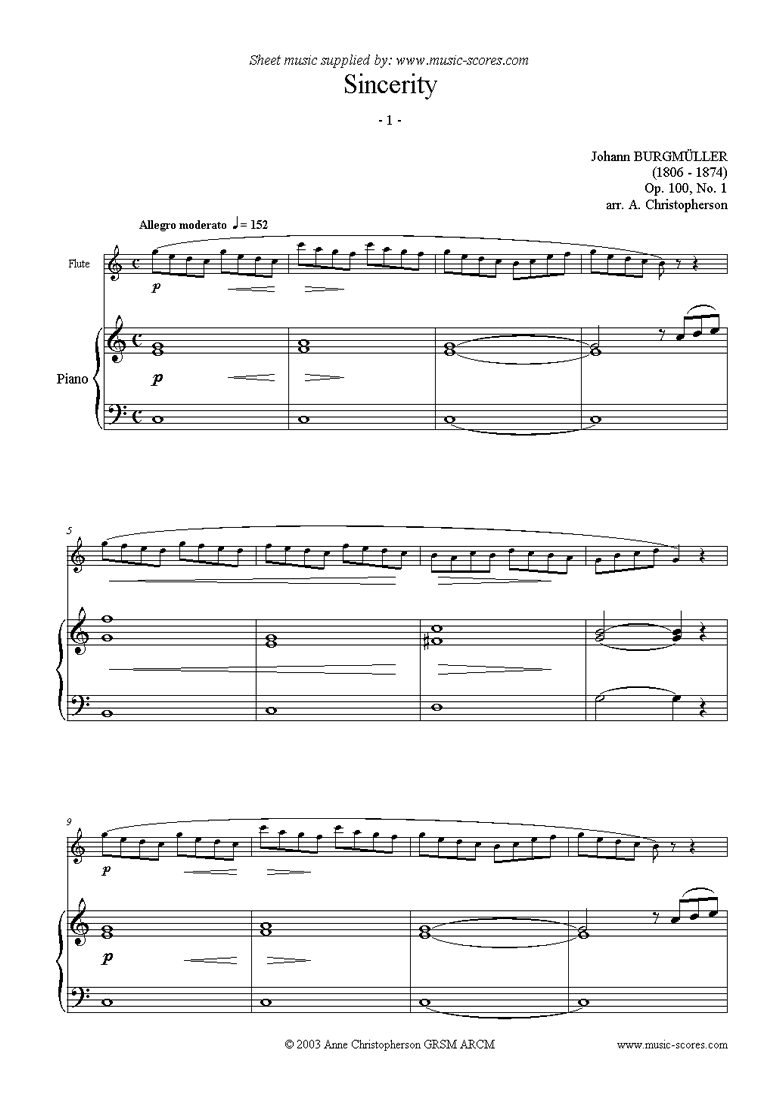 Front page of Op.100 No.01 Sincerity: Flute sheet music