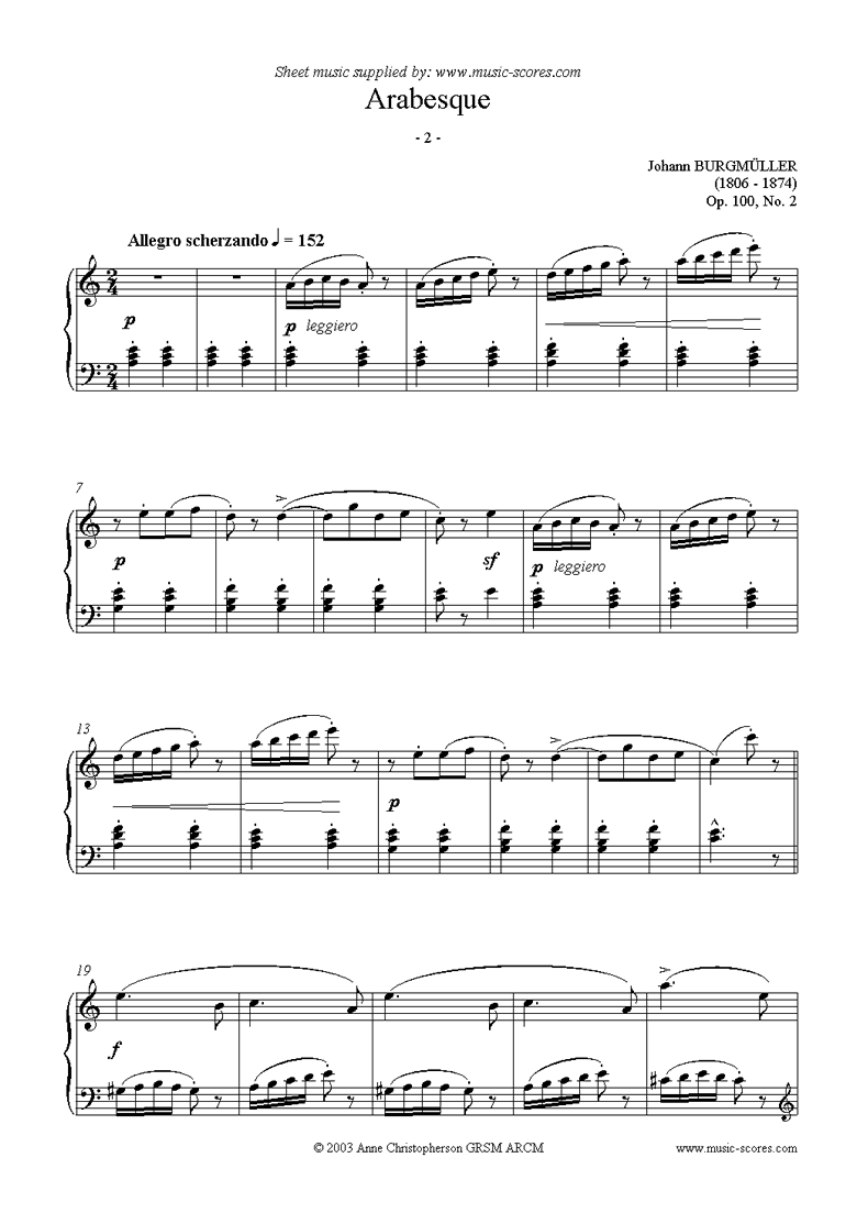 Front page of Op.100 No.02 Arabesque sheet music