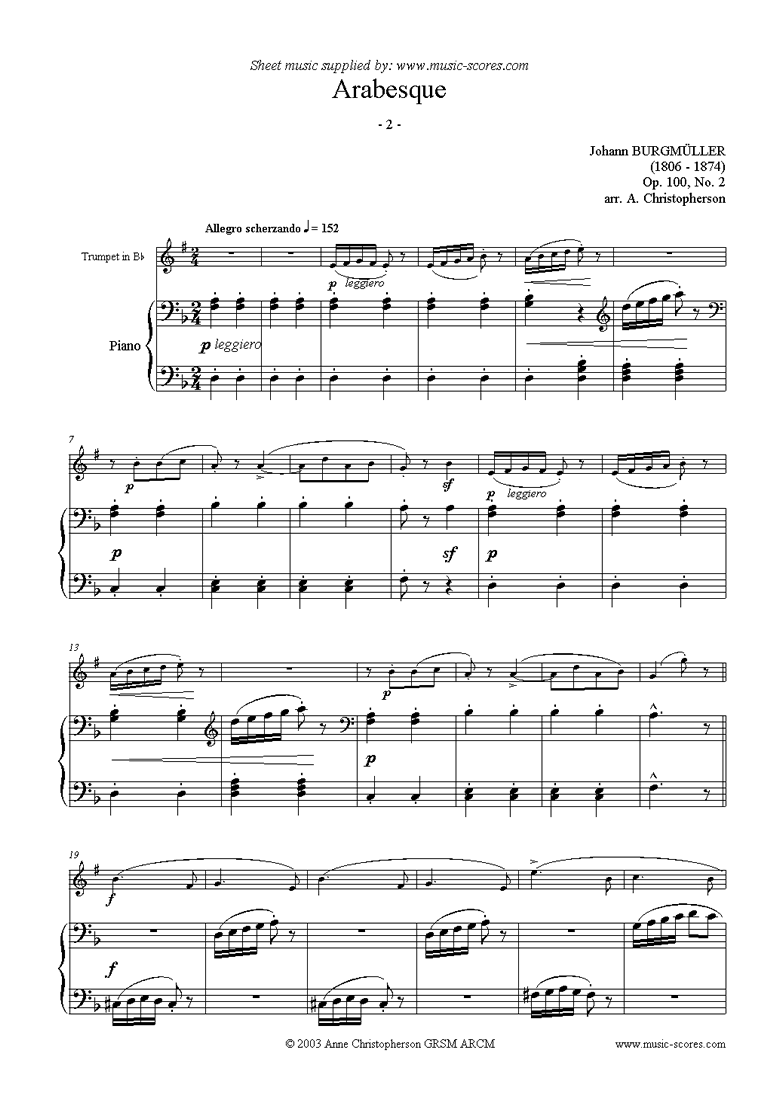 Front page of Op.100 No.02 Arabesque: Trumpet sheet music