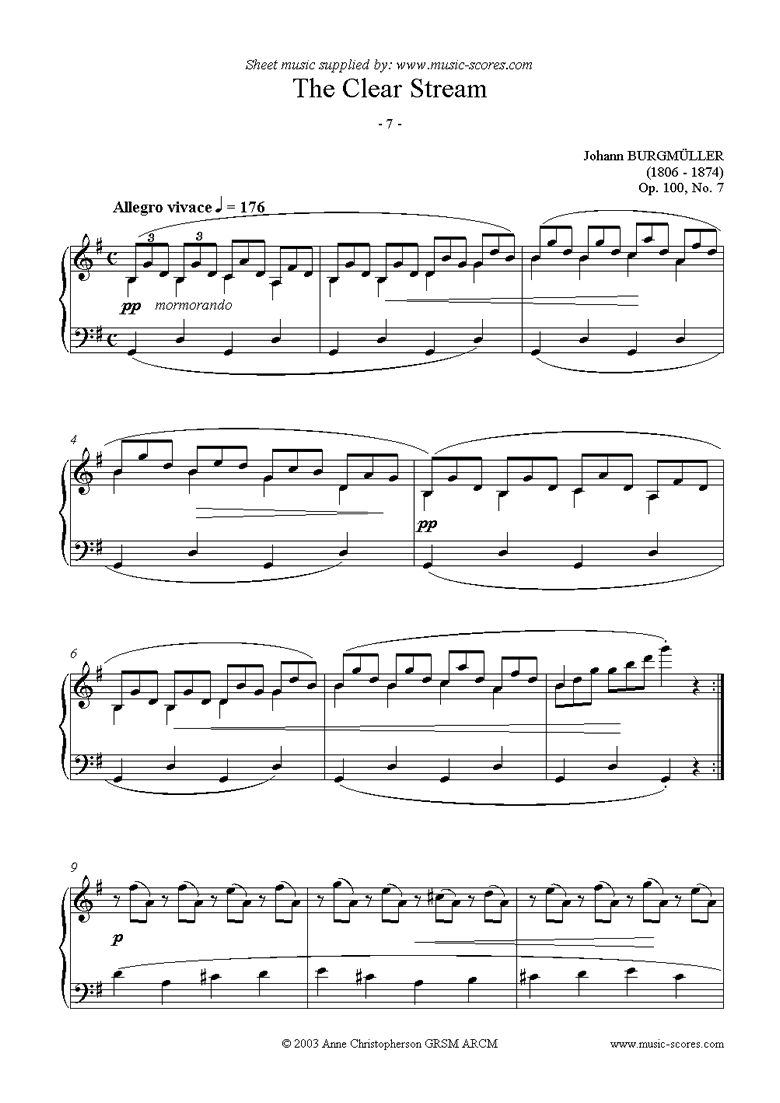 Front page of Op.100 No.07 The Clear Stream sheet music