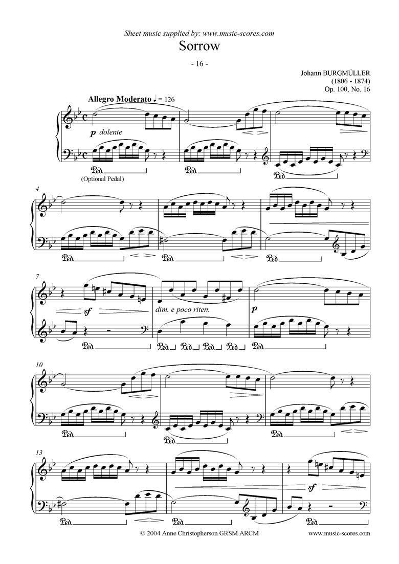 Front page of Op.100 No.16 Sorrow sheet music