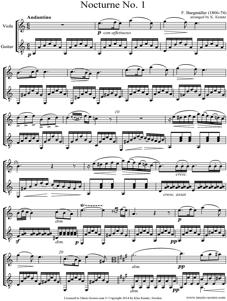 Front page of 3 Nocturnes: Viola, Guitar sheet music