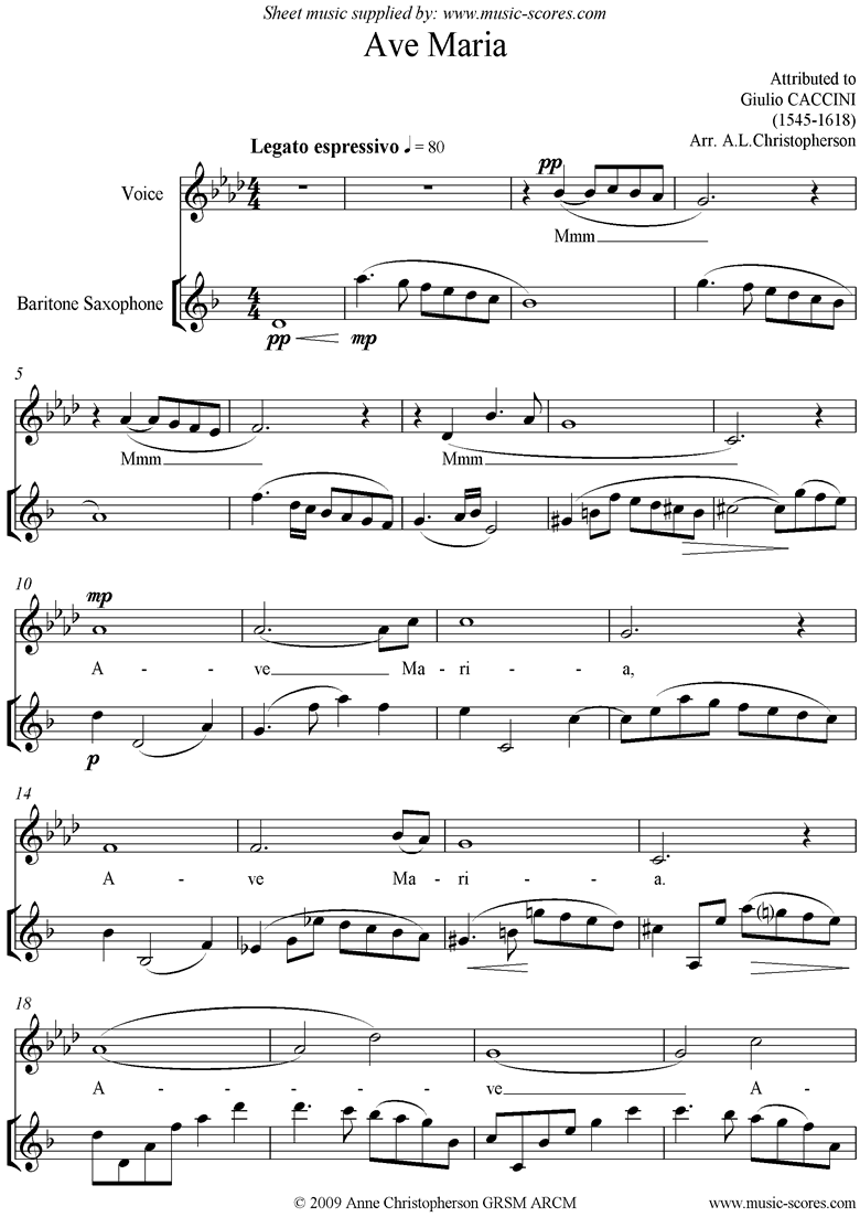 Front page of Ave Maria: Voice and Baritone Sax sheet music