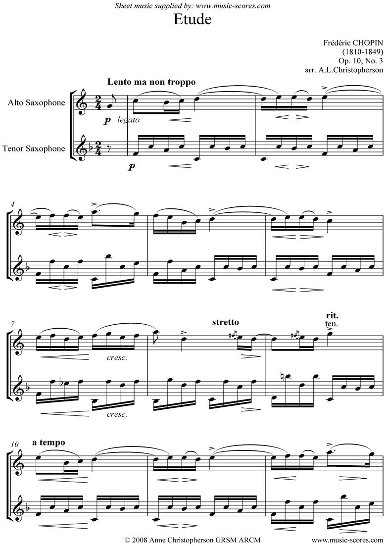 Op.10, No.03: Etude: Alto and Tenor Sax by Chopin