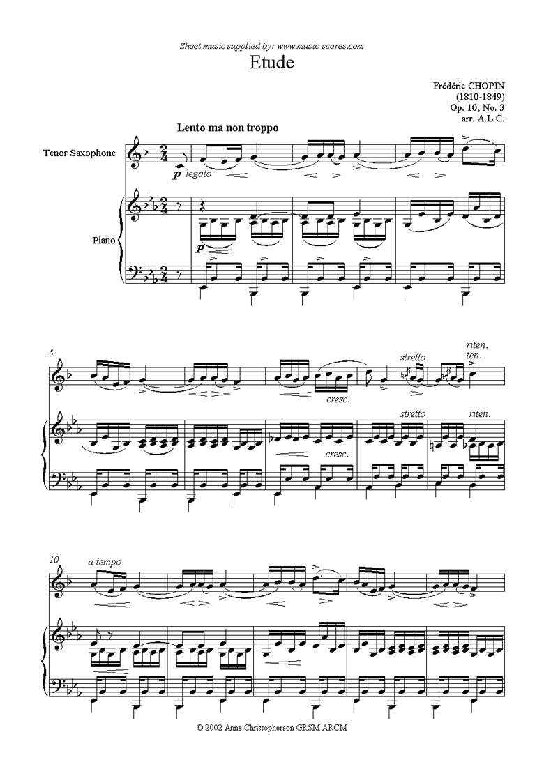 Front page of Op.10, No.03: Etude: Tenor Sax sheet music