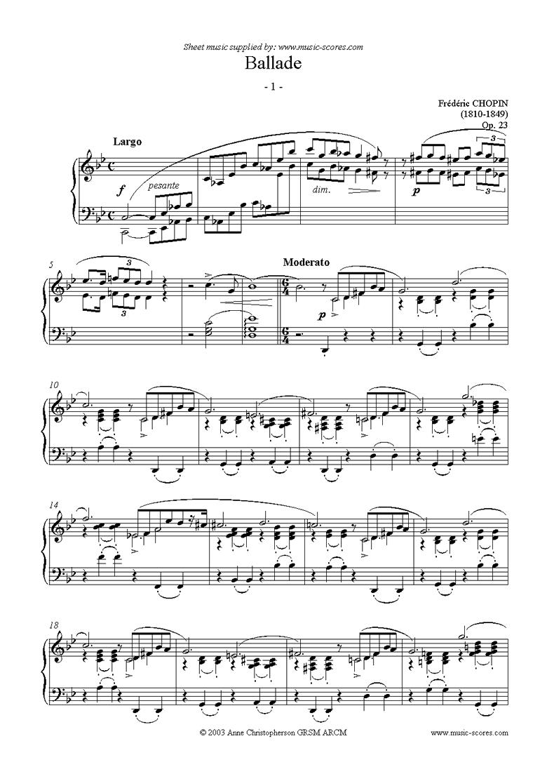 Front page of Op.23: Ballade No. 01 in G minor sheet music