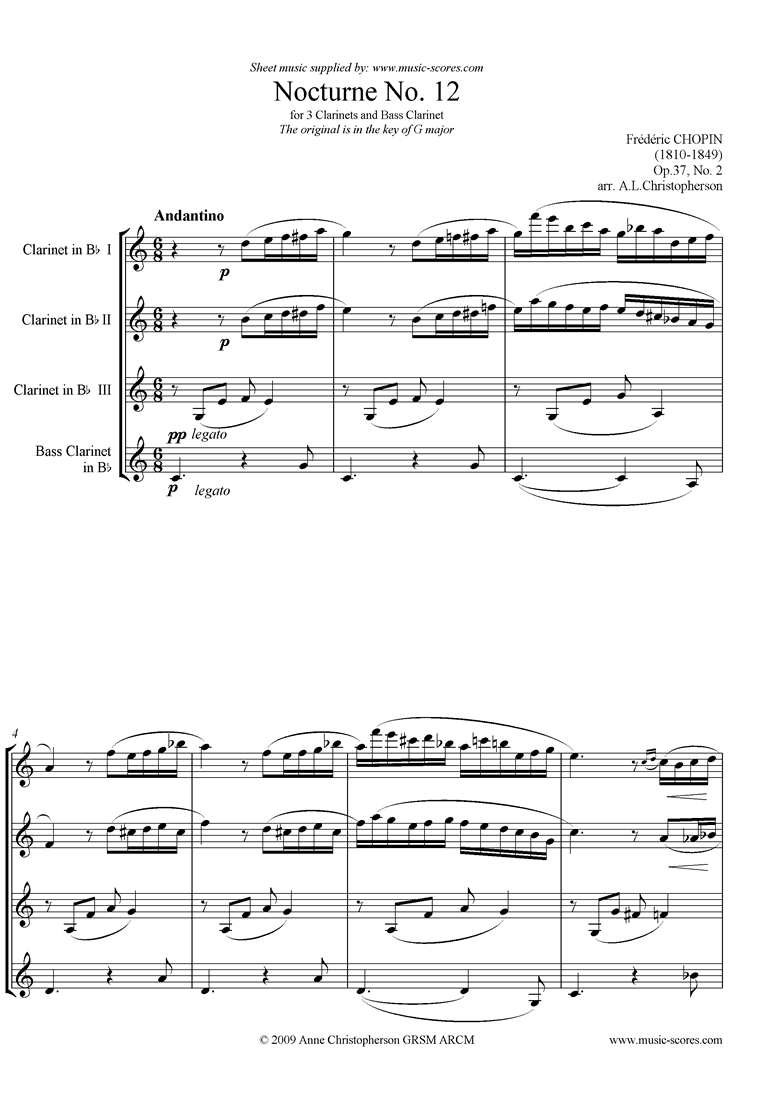 Front page of Op.37, No.02: Nocturne no.12: 3 clarinets, Bass cl sheet music
