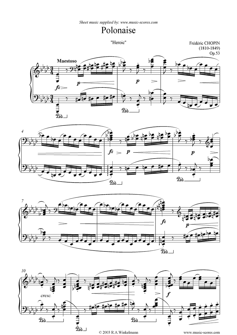 Front page of Op.53: Heroic Polonaise sheet music