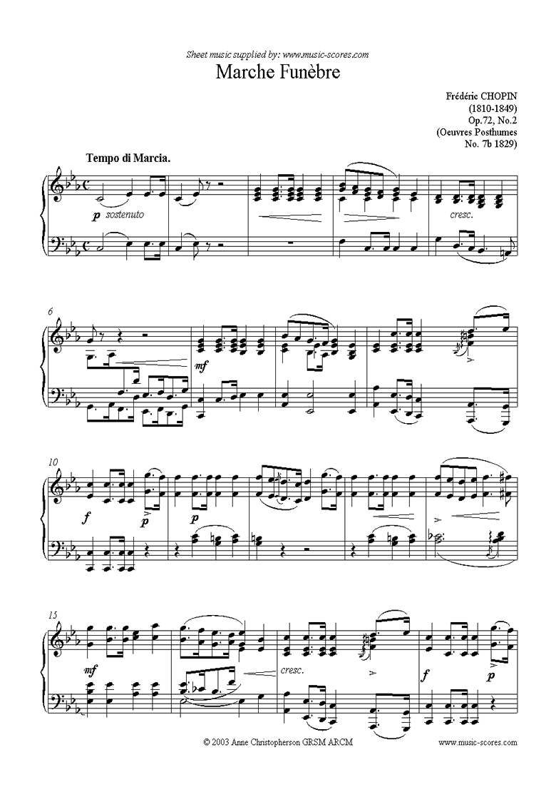 Front page of Op.72, No.02 posthumous: Marche Funebre sheet music