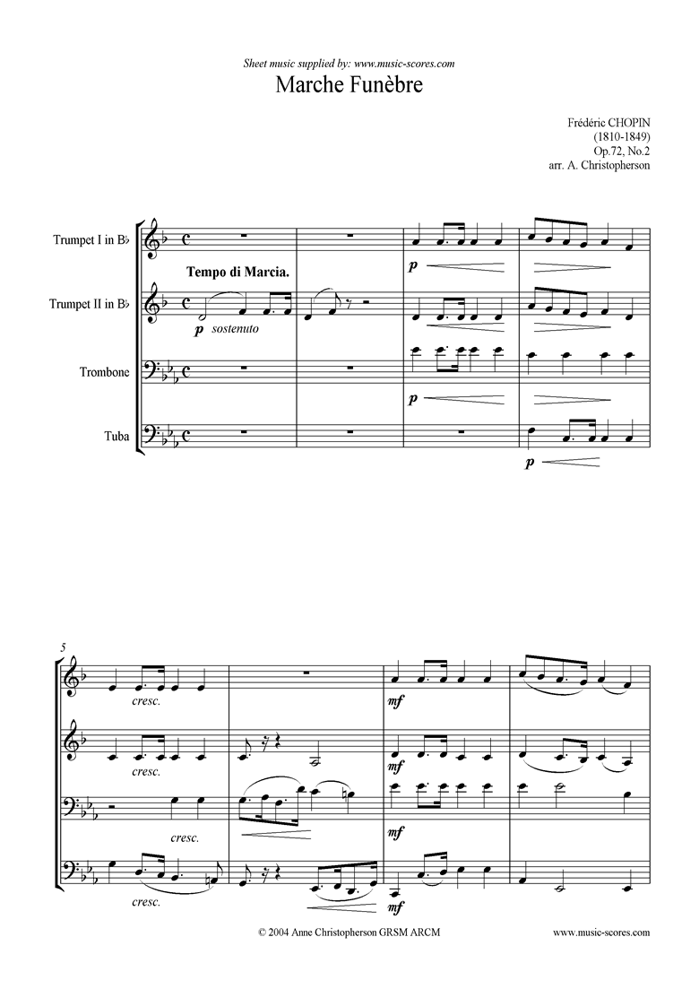 Front page of Op.72, No.02 posthumous: Marche Funebre brass 4 sheet music