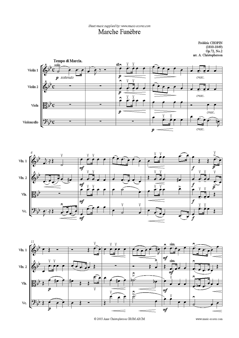 Front page of Op.72, No.02 posth: Marche Funebre 2vns va vc sheet music