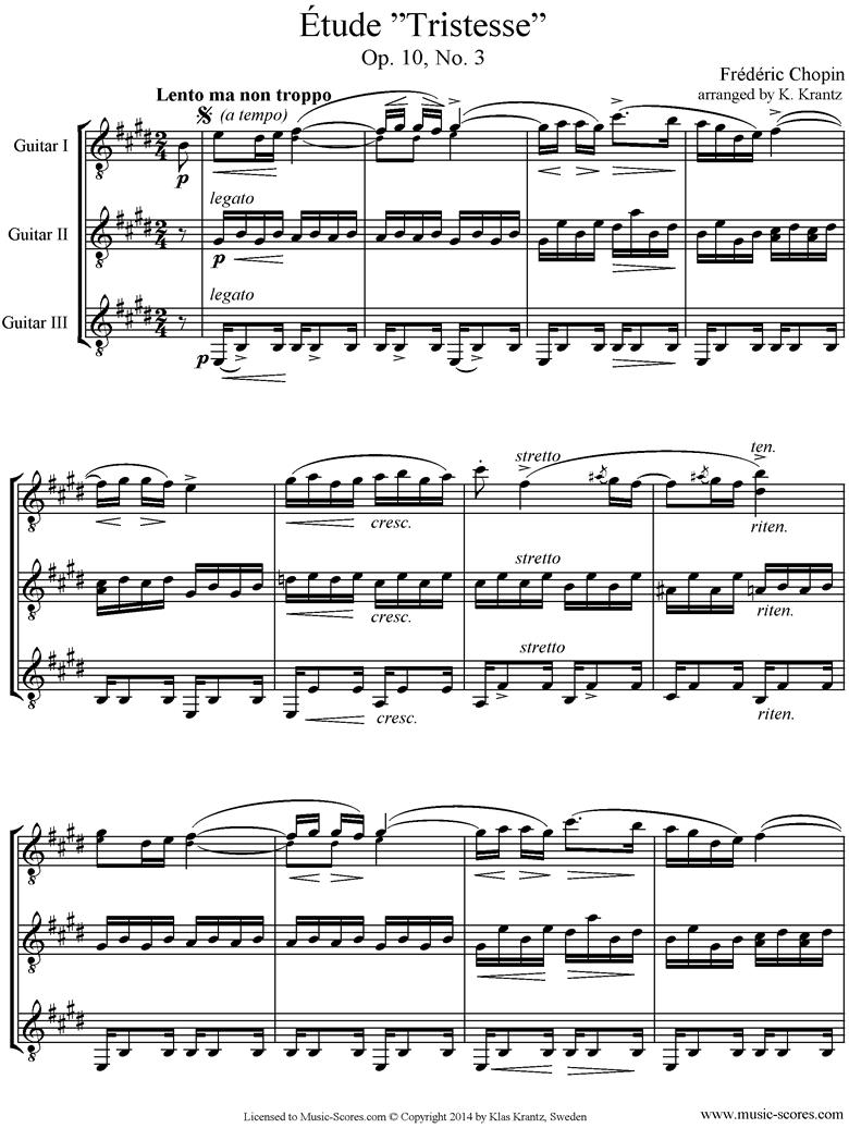 Op.10, No.03: Etude: 3 Guitars by Chopin
