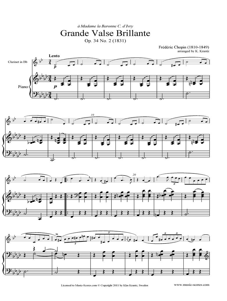 Front page of Op.34, No.02 Waltz: Clarinet, Piano sheet music