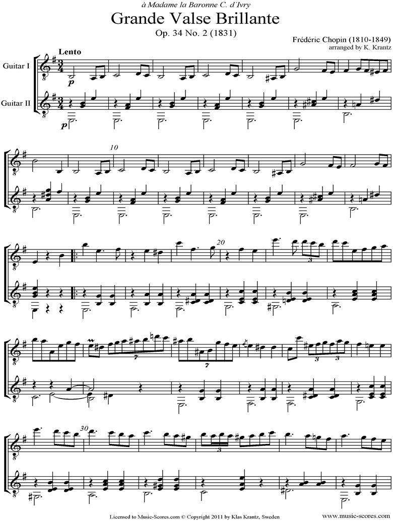 Front page of Op.34, No.02 Waltz: Guitar Duet sheet music