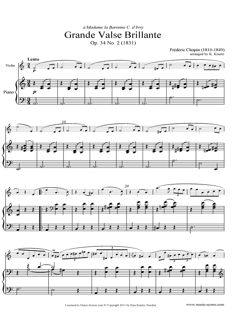 Front page of Op.34, No.02 Waltz: Violin, Piano sheet music