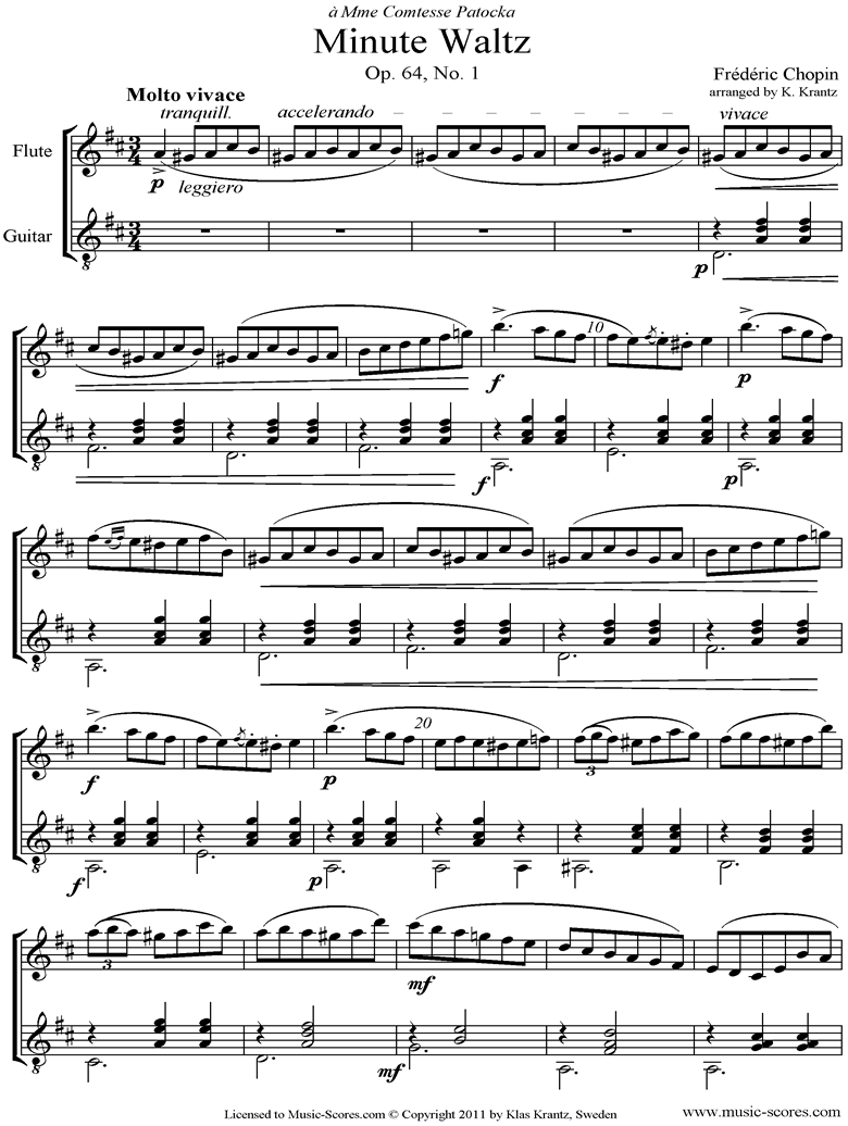 Front page of Op.64, No.01 Waltz: Flute, Guitar sheet music