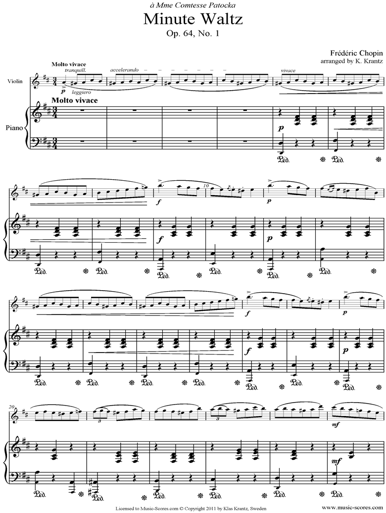 Front page of Op.64, No.01 Waltz: Violin, Piano sheet music