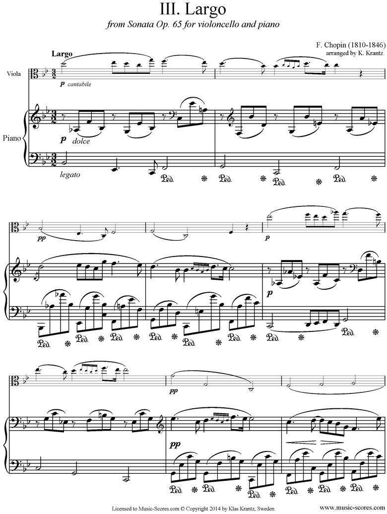Front page of Op.65, Cello Sonata, 3rd Mvt: Viola, Piano sheet music