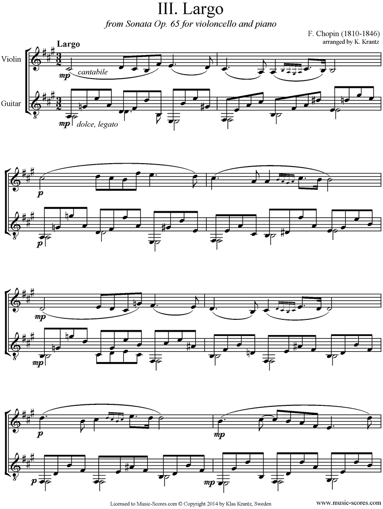 Front page of Op.65, Cello Sonata, 3rd Mvt: Violin, Guitar sheet music
