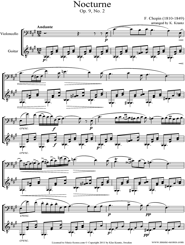Front page of Op.09, No.02 Nocturne: Cello, Guitar sheet music