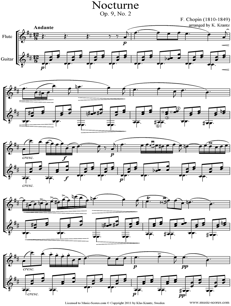Front page of Op.09, No.02 Nocturne: Flute, Guitar sheet music