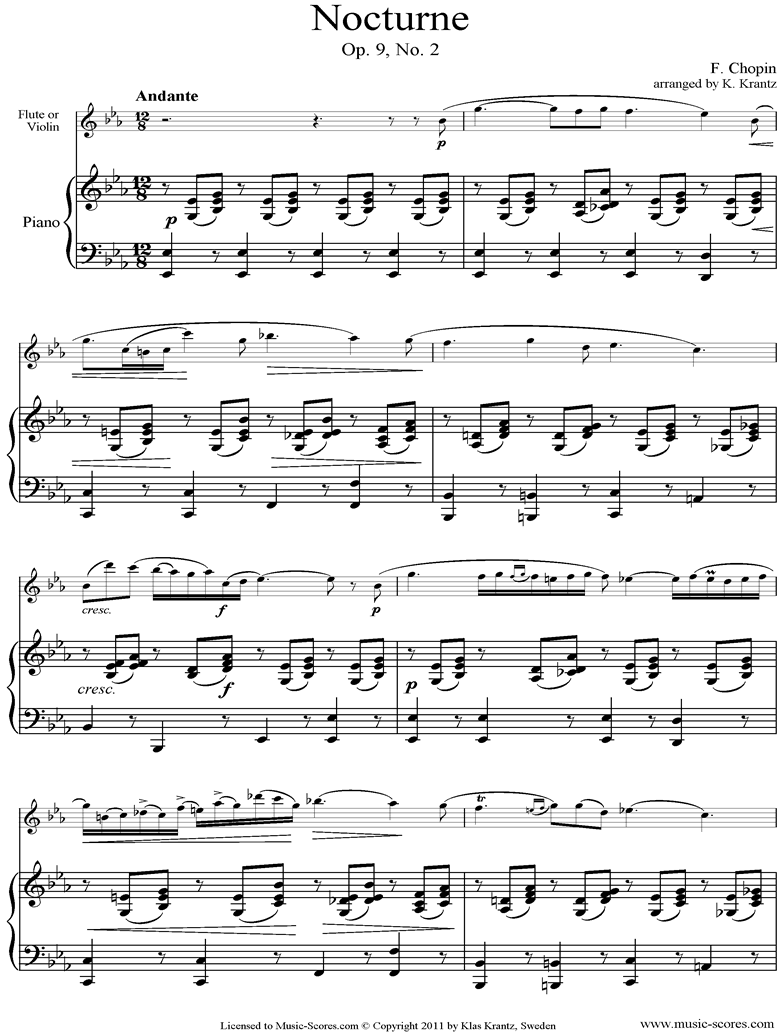 Front page of Op.09, No.02 Nocturne: Flute, Piano sheet music