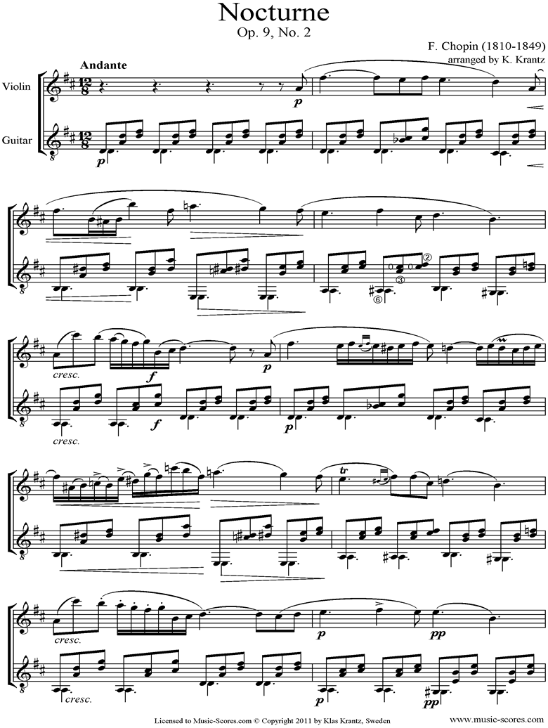 Front page of Op.09, No.02 Nocturne: Violin, Guitar sheet music