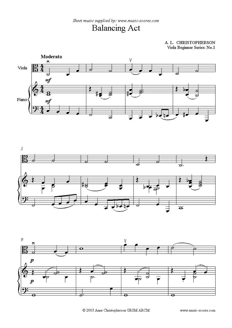 Front page of Viola Beginner Series: Balancing Act sheet music