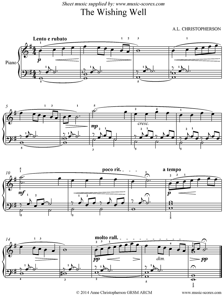 Front page of Wishing Well: Piano sheet music