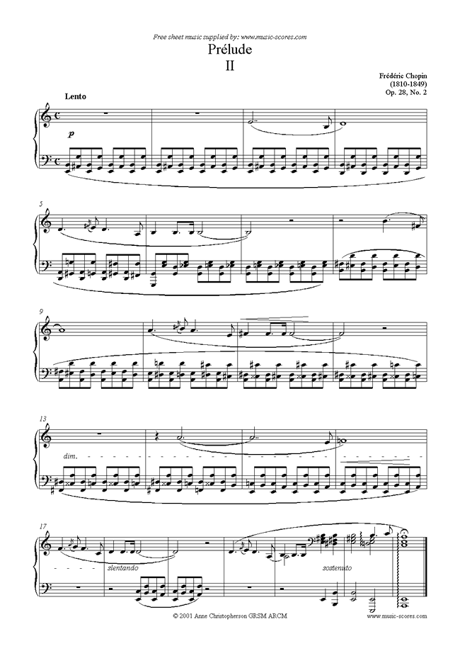 Front page of Op.28, No.02: Prelude no. 2 in A minor sheet music