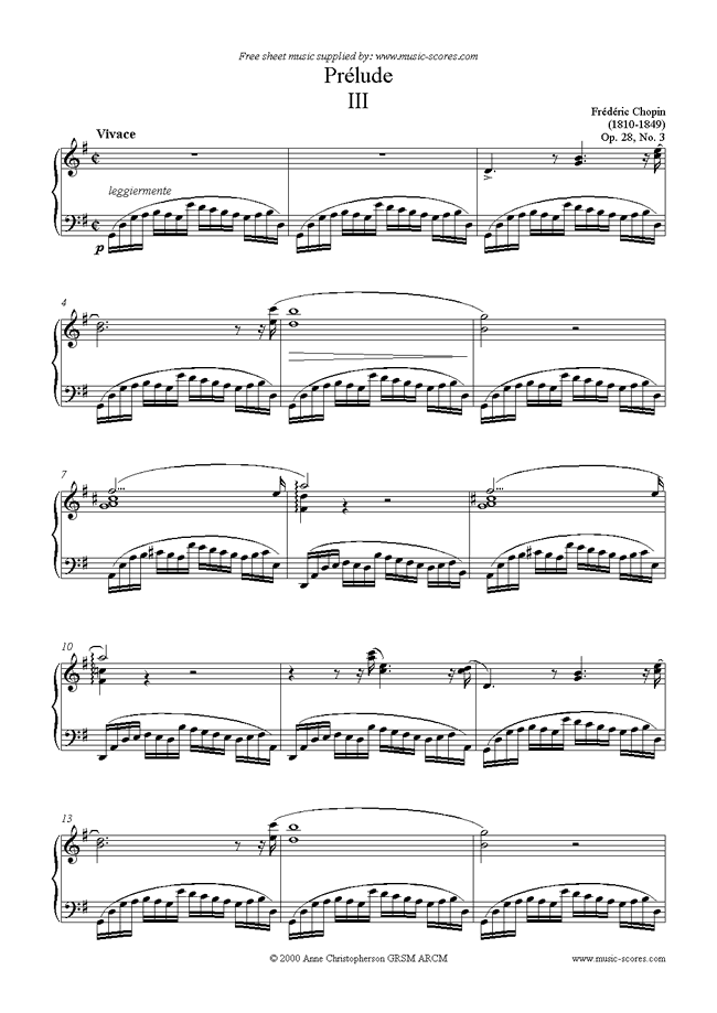 Front page of Op.28, No.03: Prelude no. 3 in G sheet music