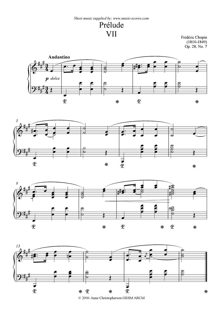 Front page of Op.28, No.07: Prelude no. 7 in A sheet music