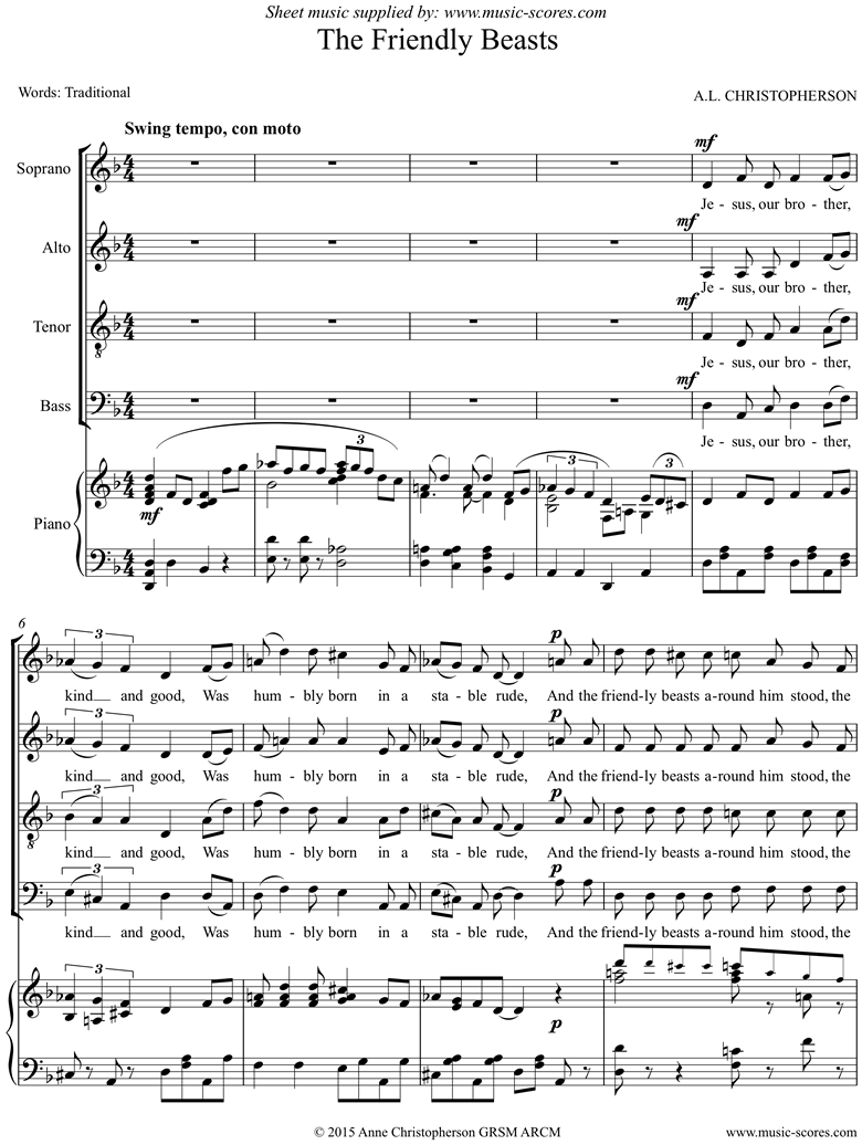 Front page of The Friendly Beasts: SATB sheet music