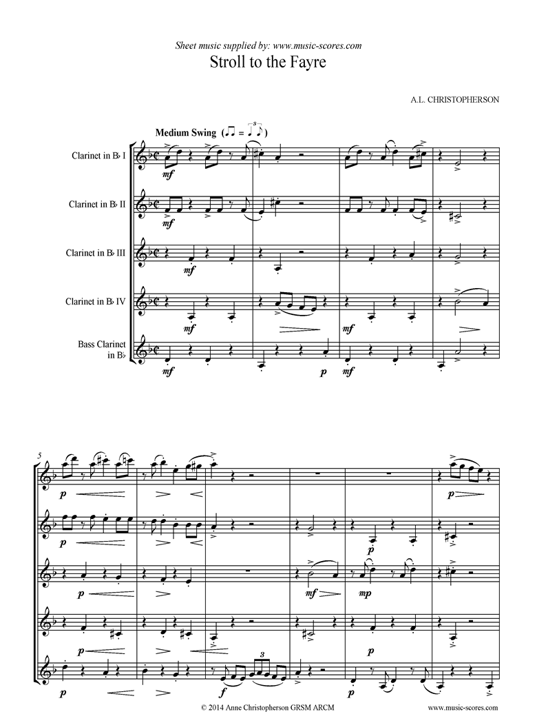 Front page of Stroll to the Fayre: Clarinet Quintet sheet music
