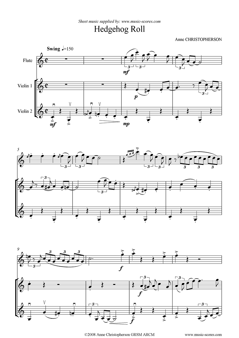 Front page of Hedgehog Roll: Flute and 2 Violins sheet music