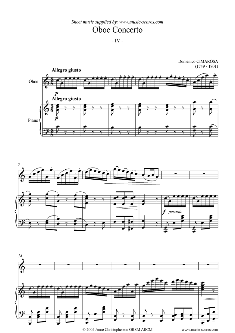 Front page of Oboe Concerto: 4th mvt: Allegro giusto: Oboe sheet music