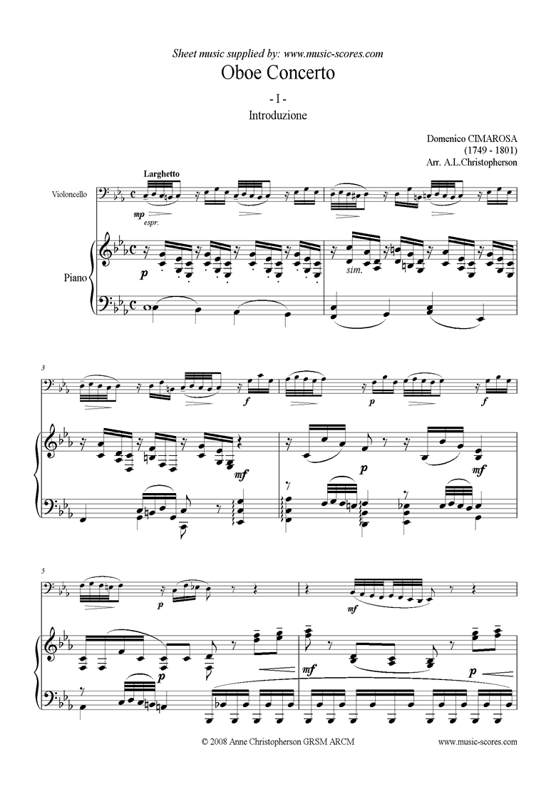 Front page of Concerto: 1st mvt: Larghetto: Cello sheet music