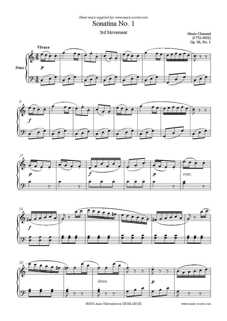 Front page of Op. 36, No. 1: Sonatina in C: 3rd Movement sheet music