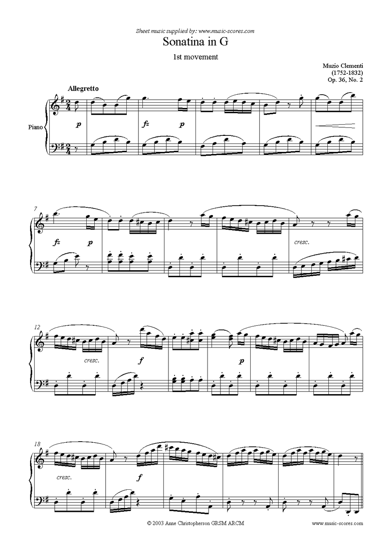 Front page of Op. 36, No. 2: Sonatina in G: 1st Movement sheet music