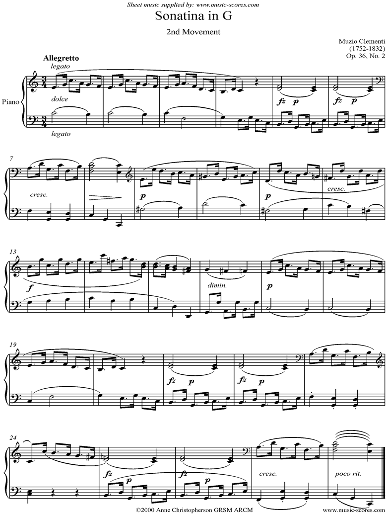 Front page of Op. 36, No. 2: Sonatina in G: 2nd Movement sheet music