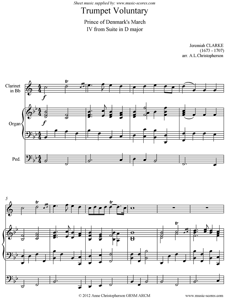 Front page of Suite in D: Trumpet Voluntary: Clarinet and Organ, Bb sheet music