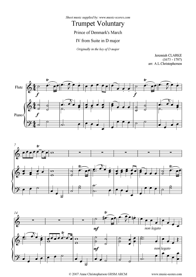 Front page of Suite in D: Trumpet Voluntary: Flute and Piano sheet music