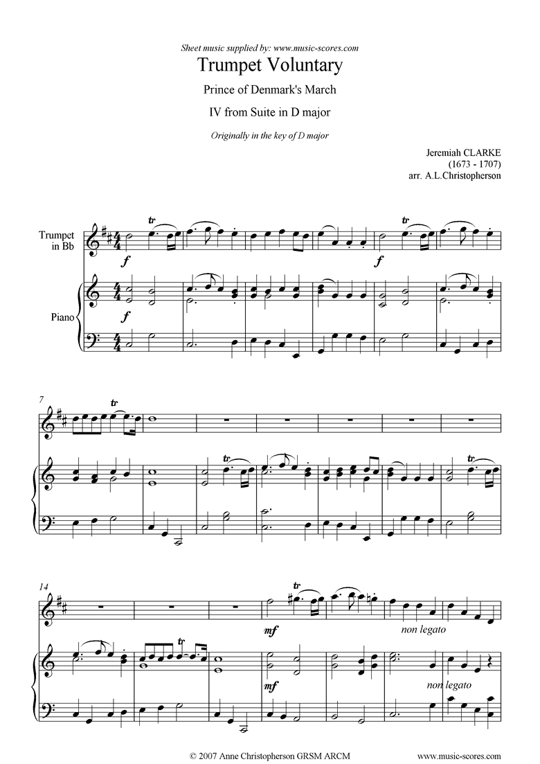 Suite in D: Trumpet Voluntary: Trumpet Piano mod by Clarke