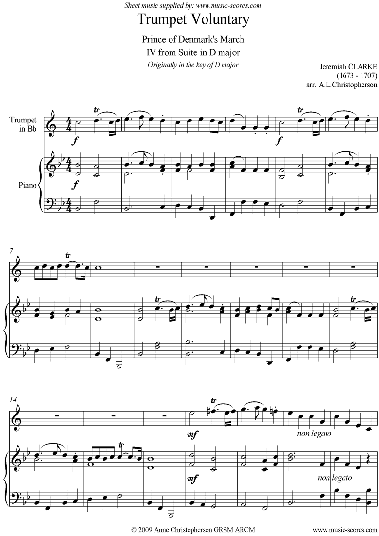 Front page of Suite in D: Trumpet Voluntary: Trumpet and Piano sheet music