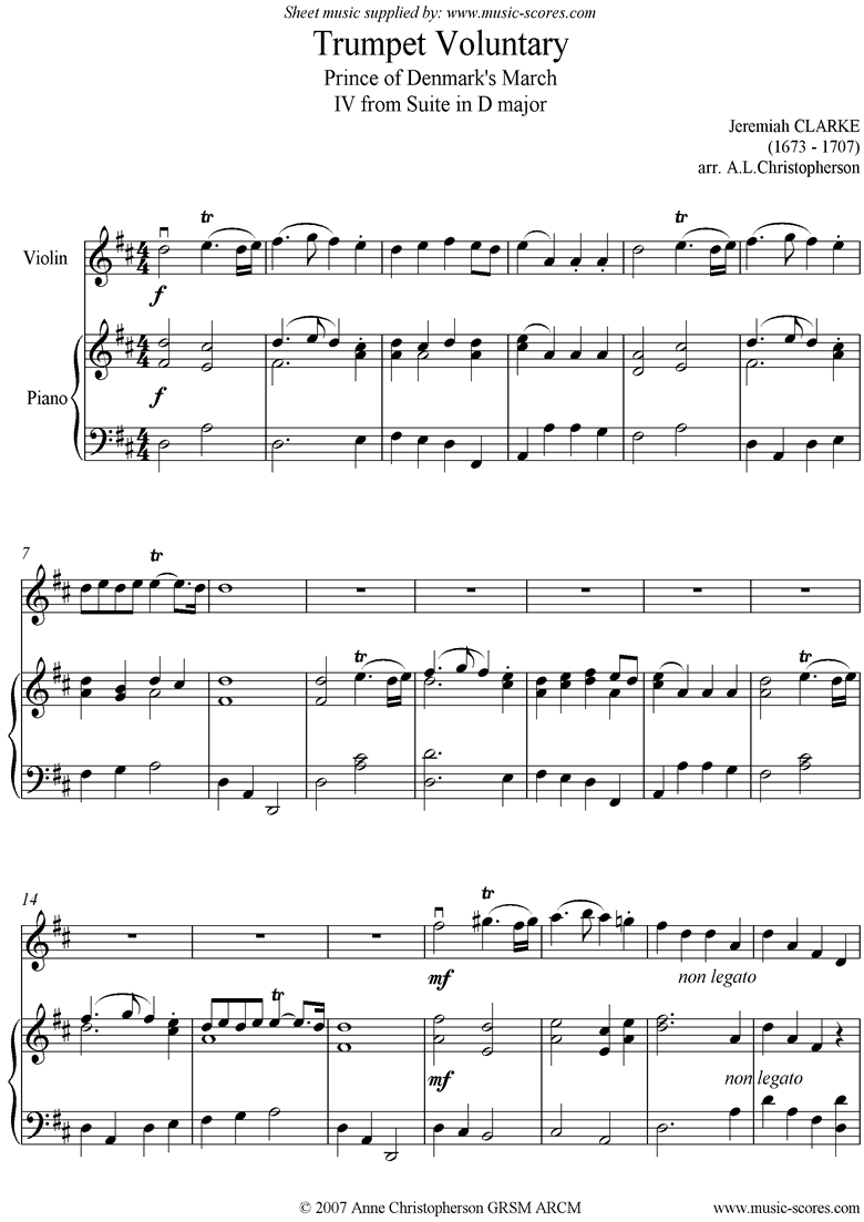 Front page of Suite in D: Trumpet Voluntary: Violin, Piano: Dma sheet music