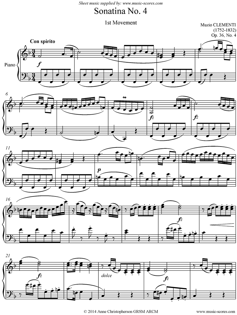 Front page of Op. 36, No. 4: Sonatina in F: 1st Movement sheet music