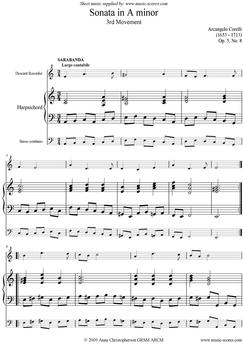 Front page of Sonata in A minor, 3rd Movement: Op. 5, No. 8 sheet music