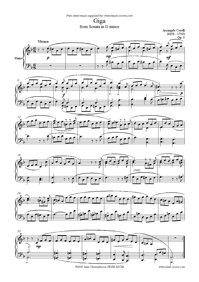 Giga, from Sonata in D minor: Op. 5 by Corelli