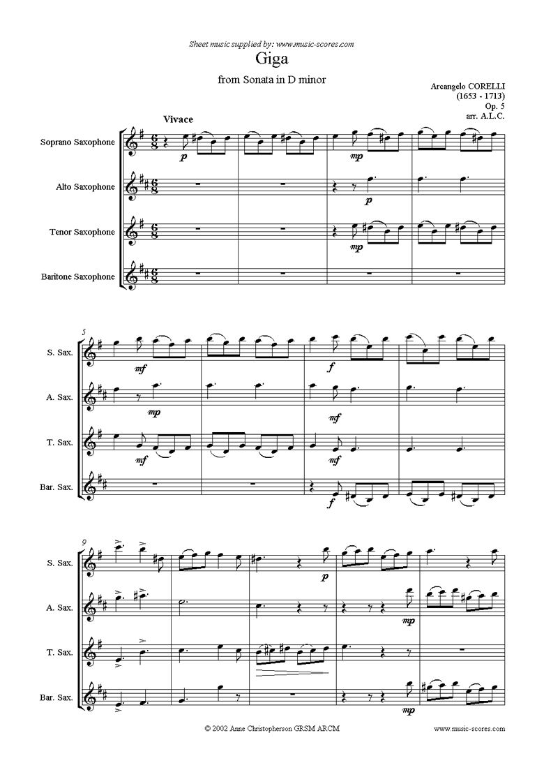 Front page of Giga, from Sonata in D minor: Op. 5: Sax quartet: Soprano, Alto, Tenor, Bari. sheet music