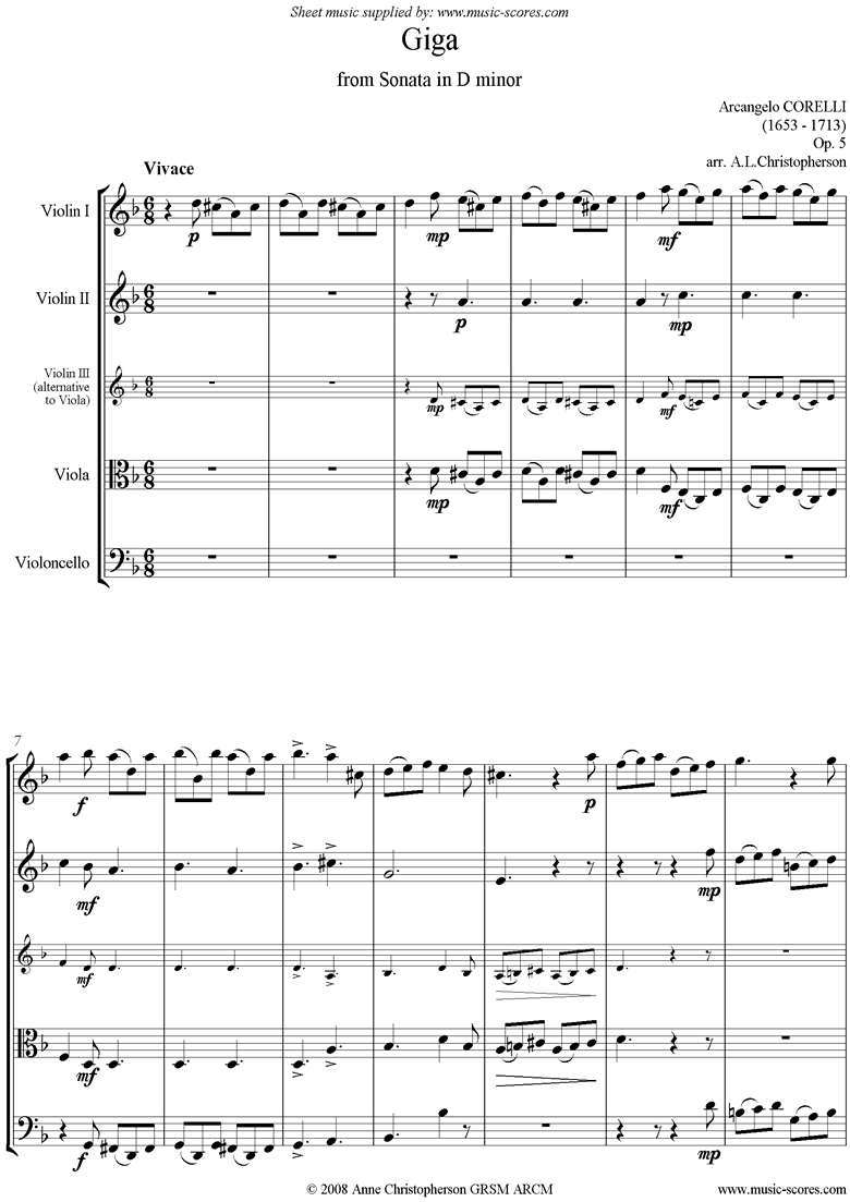 Front page of Giga, from Sonata in D minor: Op. 5 String 4 sheet music